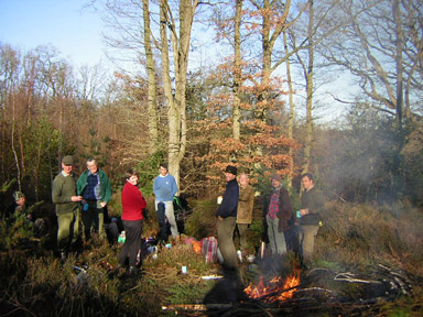 Tea break during a heathland restoration project at Pamber Forest